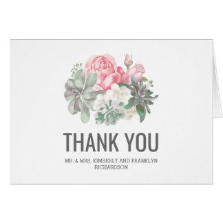 Los Succulents y el casarse rosado de las flores Tarjeta Pequeña