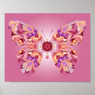 Los sueños de la mariposa imprimen rosa y el naran poster