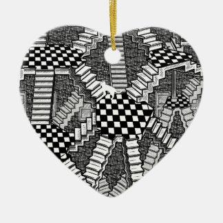 los sueños del gato de los schrodinger adorno de cerámica en forma de corazón