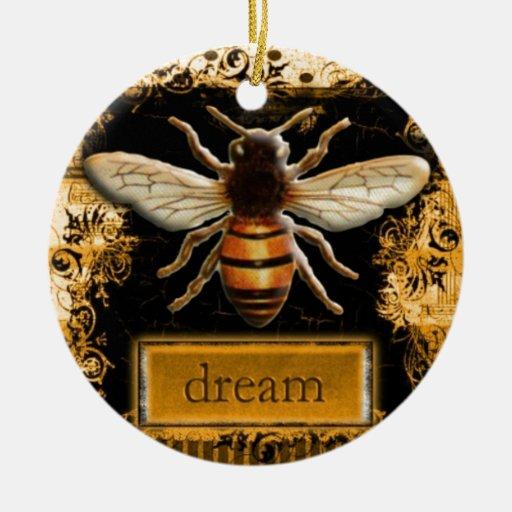 Los sueños toman vuelo adorno navideño redondo de cerámica
