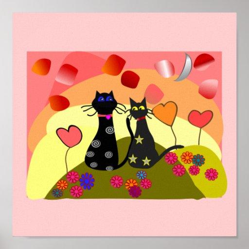 Los sueños vienen verdad--Arte del gato negro de l Posters