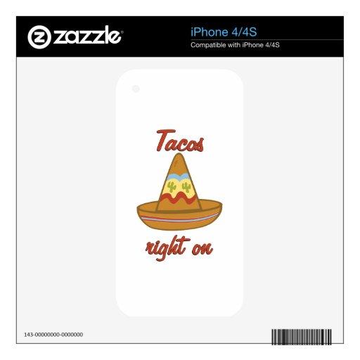Los Tacos enderezan encendido Calcomanía Para El iPhone 4