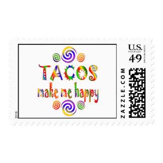 Los Tacos me hacen feliz Estampillas