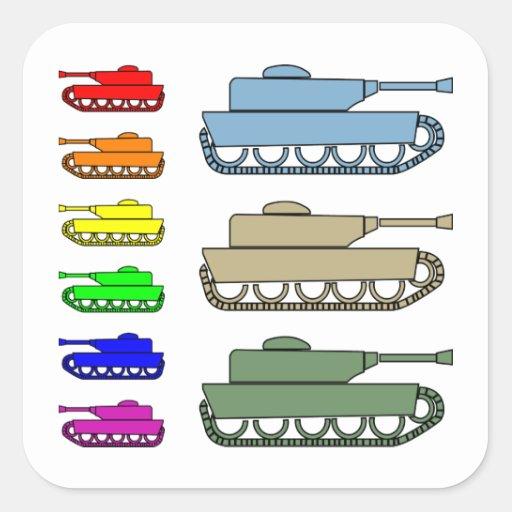 Los tanques de ejército de neón - arte pop calcomanía cuadradas personalizadas