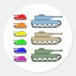 Los tanques de ejército de neón - arte pop etiquetas redondas