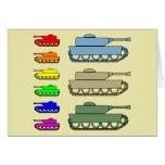 Los tanques de ejército de neón - arte pop tarjetón