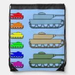 Los tanques de ejército de neón azules mochilas