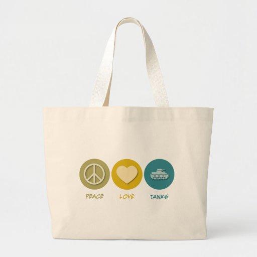 Los tanques del amor de la paz bolsa tela grande