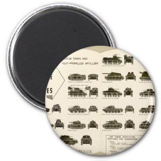 Los tanques medios de la carta WWII de la identifi Iman De Frigorífico