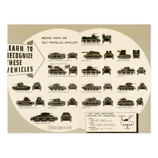 Los tanques medios de la carta WWII de la Postales
