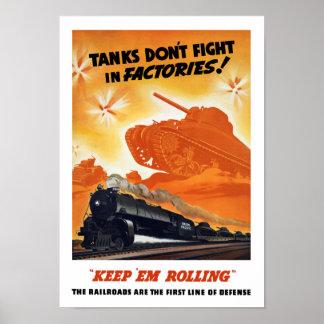 Los tanques no luchan en fábricas -- Ferrocarril Póster
