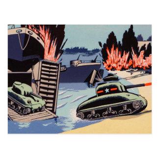 Los tanques retros del día D del kitsch del Tarjetas Postales