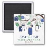 Los tarros de albañil azules y verdes ahorran el iman de nevera