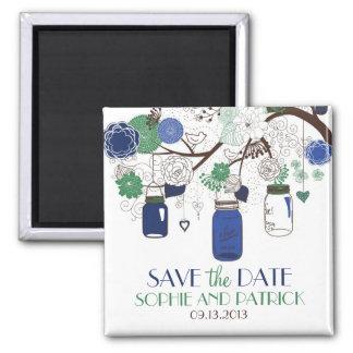 Los tarros de albañil azules y verdes ahorran el imán cuadrado