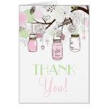 Los tarros de albañil del rosa y de la verde menta felicitación