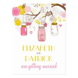 Los tarros de albañil rosados y amarillos ahorran tarjetas postales