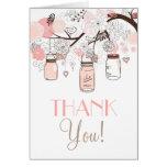 Los tarros de albañil y los pájaros rosados del am tarjetas
