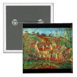 Los tejados del rojo de Camille Pissarro Pin Cuadrado