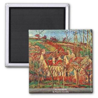 Los tejados rojos, por Pissarro Camilo Imán Cuadrado