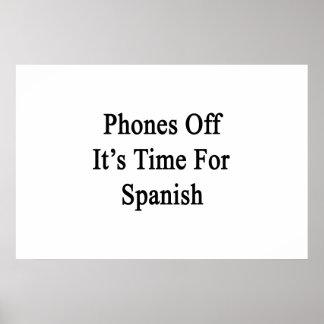 Los teléfonos de él son hora para el español póster