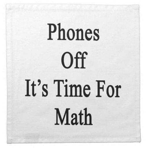 Los teléfonos de él son hora para la matemáticas servilletas imprimidas