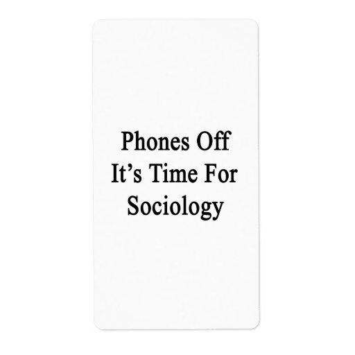 Los teléfonos de él son hora para la sociología etiquetas de envío
