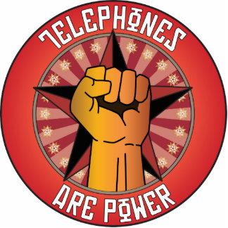 Los teléfonos son poder escultura fotográfica