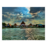 Los templos hermosos acercan a Bangkok en la oscur Poster