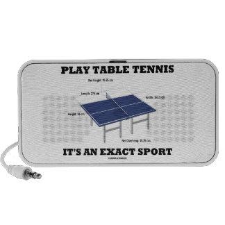 Los tenis de mesa del juego es un deporte exacto mp3 altavoces