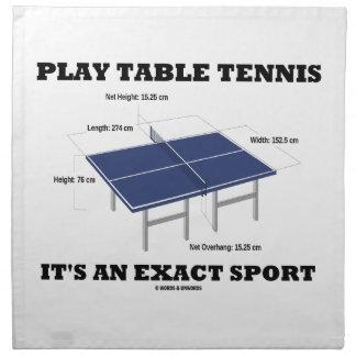 Los tenis de mesa del juego es un deporte exacto ( servilletas de papel