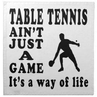 Los tenis de mesa no son apenas un juego que es un servilletas de papel
