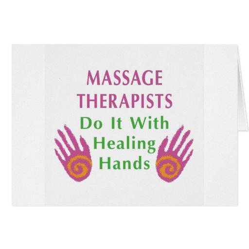 Los terapeutas del masaje lo hacen con las manos c felicitacion