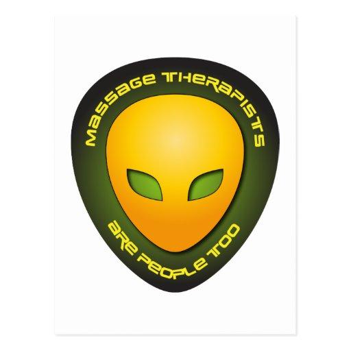 Los terapeutas del masaje son gente también tarjeta postal