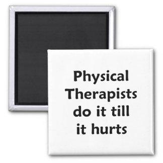 Los terapeutas físicos hacen él hasta que daña el  imán de frigorifico