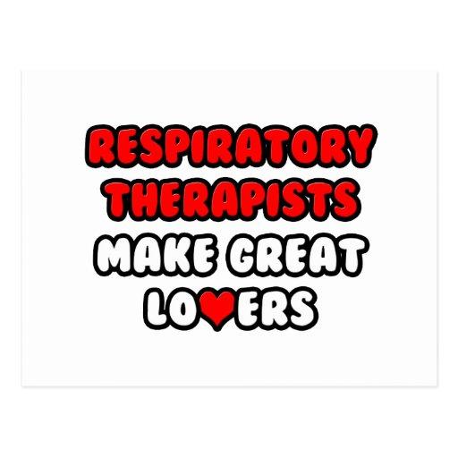 Los terapeutas respiratorios hacen a grandes amant postal