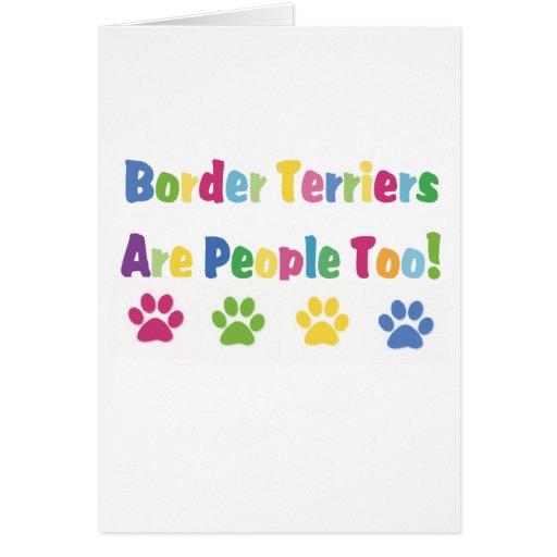 Los terrieres de frontera son gente también felicitacion