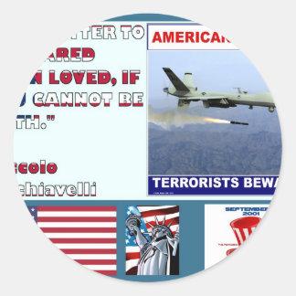 Los terroristas americanos del abejón de la fuerza pegatinas redondas