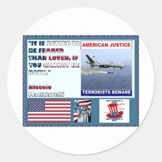 Los terroristas americanos del abejón de la fuerza pegatina redonda
