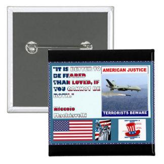 Los terroristas americanos del abejón de la fuerza pin cuadrado