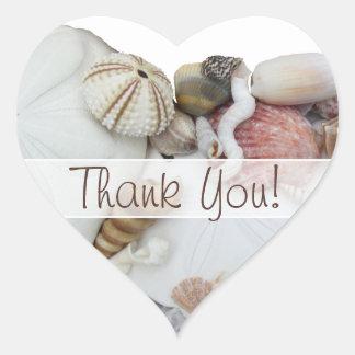 """Los tesoros del Seashell """"le agradecen"""" etiqueta"""