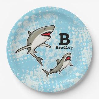 Los tiburones de la natación, añaden el nombre del plato de papel 22,86 cm
