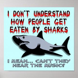 Los tiburones - oiga la muestra divertida del póster