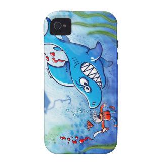 ¡Los tiburones son furiosos paran Finning Case-Mate iPhone 4 Carcasas