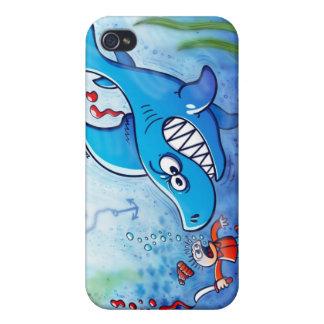 ¡Los tiburones son furiosos paran Finning iPhone 4/4S Carcasa