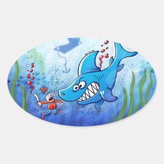 ¡Los tiburones son furiosos, paran Finning! Pegatina Ovalada