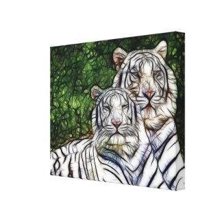 Los tigres de Bengala blancos envolvieron la lona Lona Envuelta Para Galerias