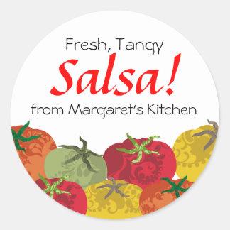 los tomates coloridos de mi regalo de la cocina pegatina redonda