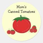 Los tomates conservados de la mamá etiquetas