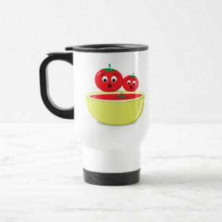 Los tomates y el viaje lindo del dibujo animado de taza de viaje de acero inoxidable