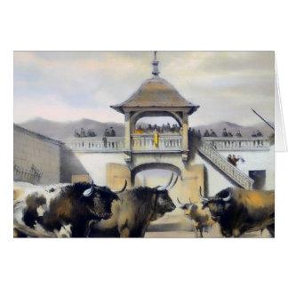 Los toros en el corral de la plaza tarjeta de felicitación
